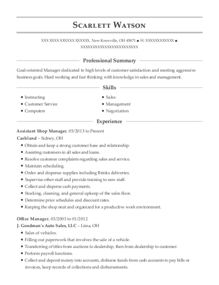 Assistant Shop Manager resume template Ohio