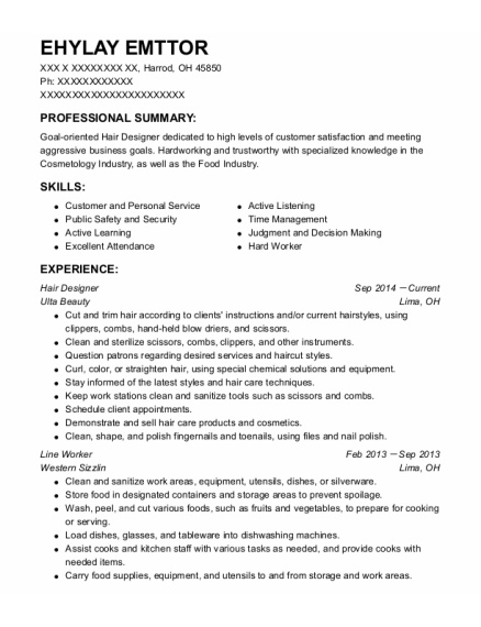 Hair Designer resume format Ohio