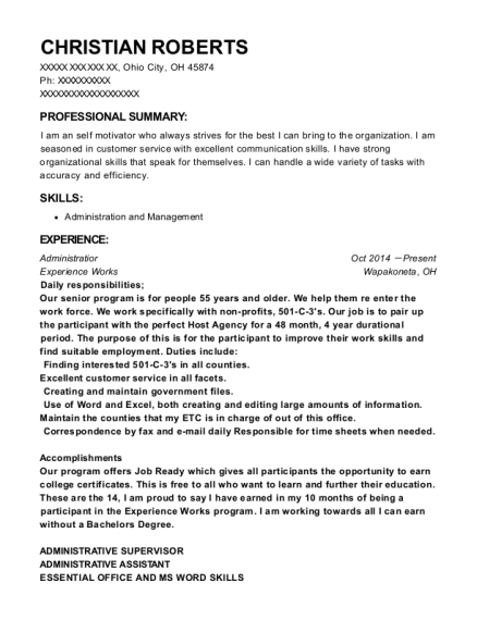 Administratior resume example Ohio