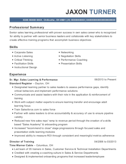 Sr Mgr Sales Learning & Performance resume format Ohio