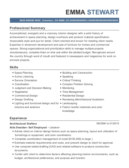 Architectural Drafters resume template Ohio