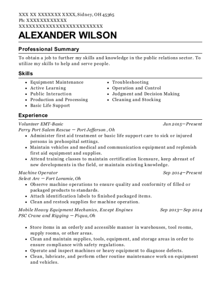 Volunteer EMT Basic resume example Ohio