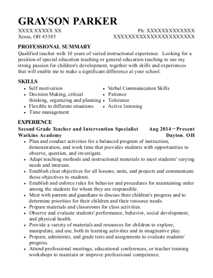 Second Grade Teacher and Intervention Specialist resume sample Ohio