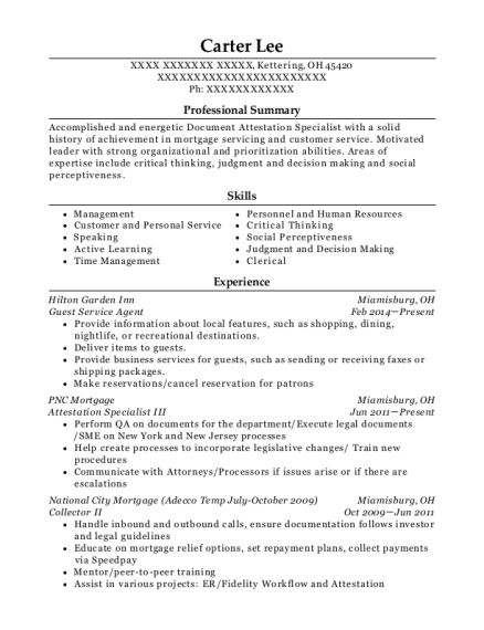Guest Service Agent resume template Ohio