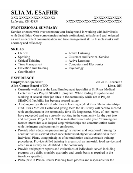 Employment Specialist resume format Ohio