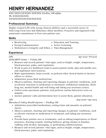 LPN resume sample Ohio