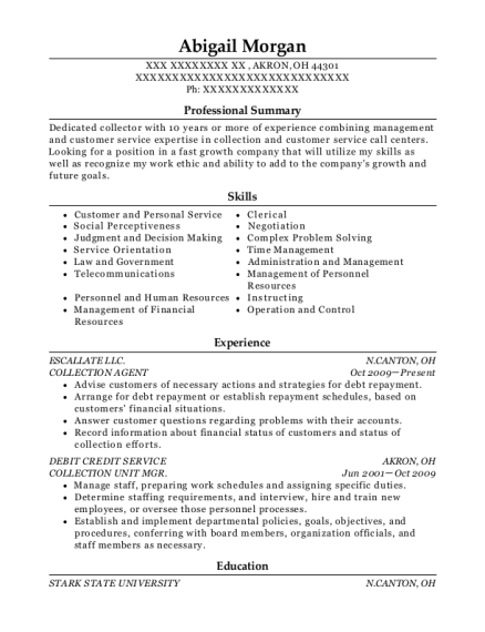 COLLECTION AGENT resume format Ohio