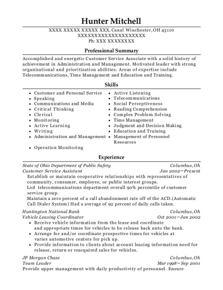 Customer Service Assistant resume template Ohio