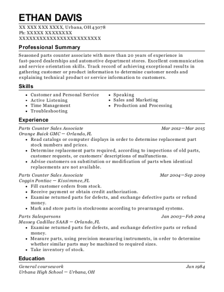 Parts Counter Sales Associate resume format Ohio