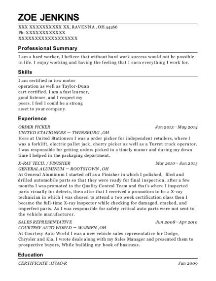 ORDER PICKER resume sample Ohio