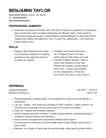 Journeyman Plumber resume sample Ohio