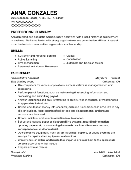 Adminstrative Assistant resume sample Ohio