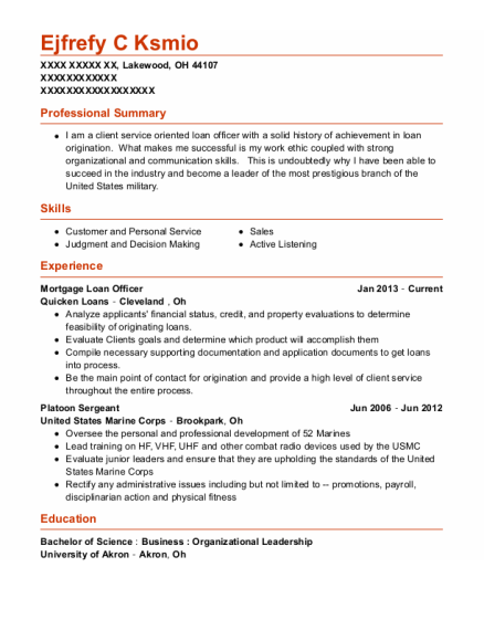 Mortgage Loan Officer resume sample Ohio