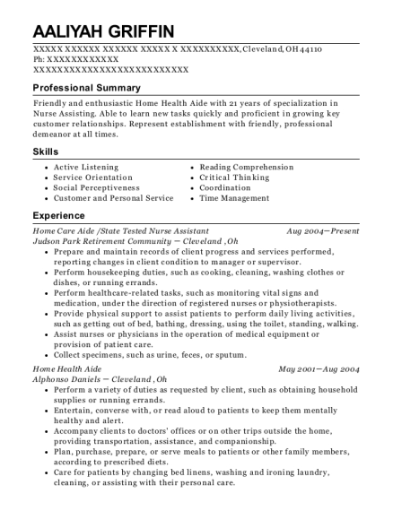 Home Care Aide resume format Ohio