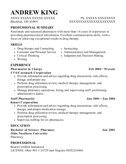 Pharmacist in Charge resume sample Ohio