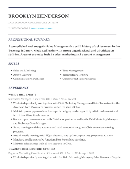 State Sales Manager resume format Ohio