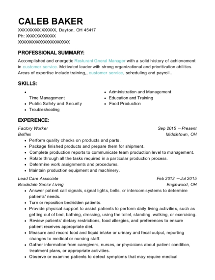 Factory Worker resume template Ohio