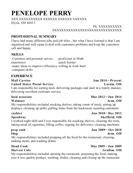 Mail Carrier resume example Ohio
