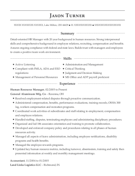 Human Resource Manager resume sample Ohio