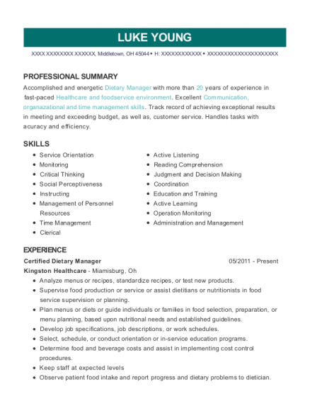 Certified Dietary Manager resume sample Ohio