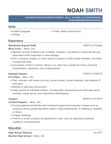 Residential Support Staff resume sample Ohio