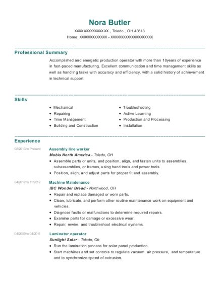 Assembly Line Worker resume format Ohio