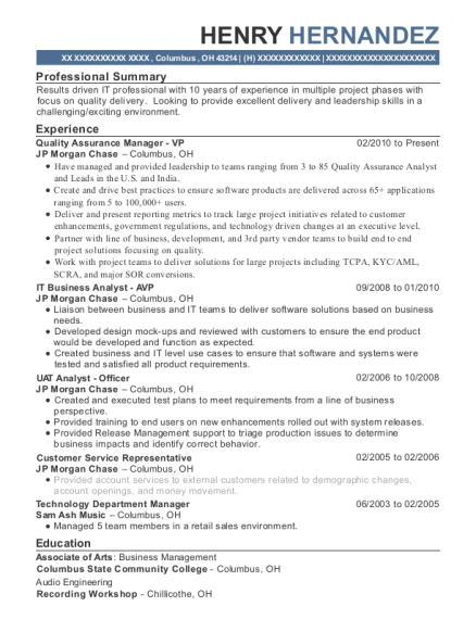 Quality Assurance Manager VP resume example Ohio