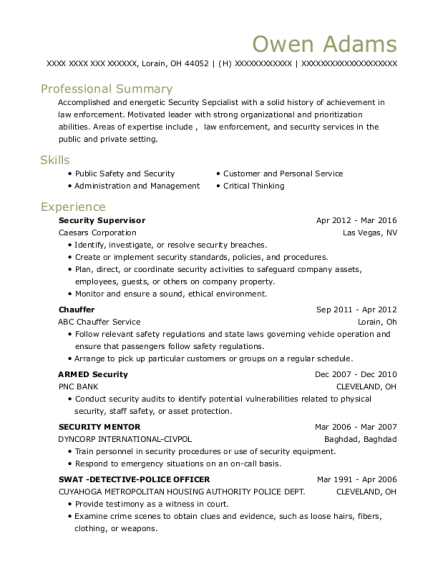 Security Supervisor resume format Ohio