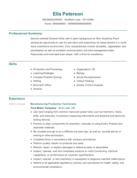 Manufacturing Production Technicians resume format Ohio