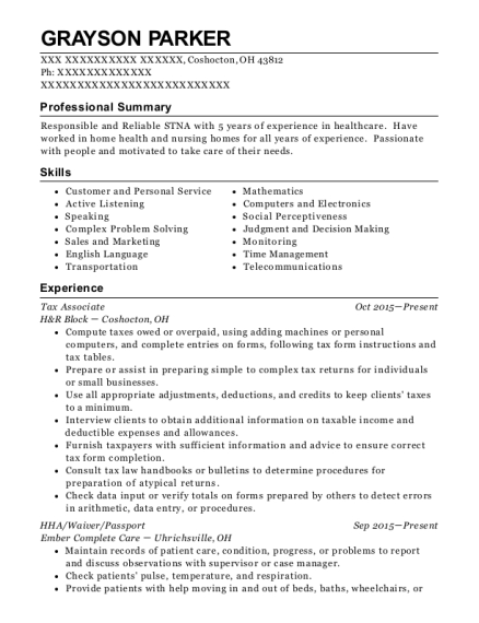 Tax Associate resume sample Ohio