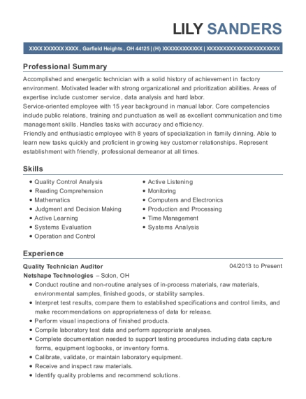 Quality Technician Auditor resume format Ohio