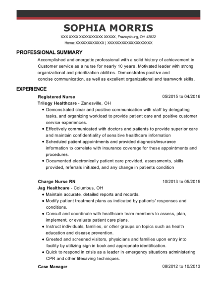 Registered Nurse resume template Ohio