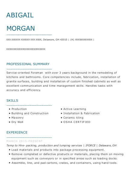 Temp to Hire packing resume example Ohio