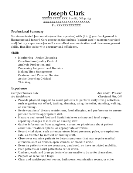 Certified Nurses Aide resume sample Ohio