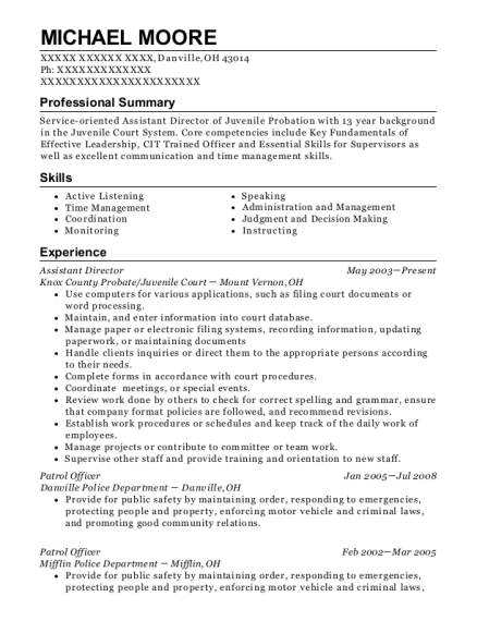 Assistant Director resume format Ohio