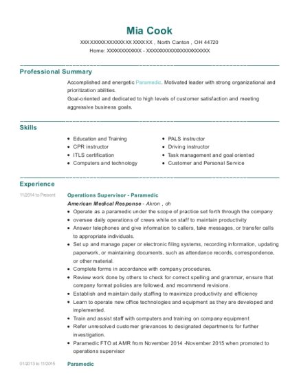 Operations Supervisor Paramedic resume template Ohio