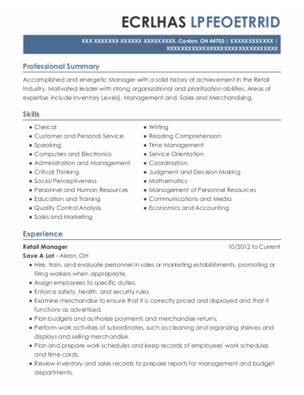 Retail Manager resume example Ohio