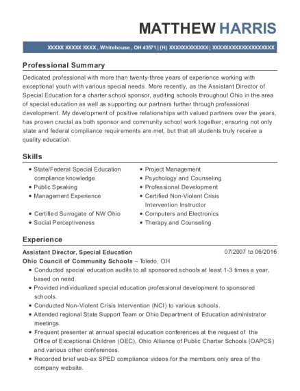 Assistant Director resume sample Ohio