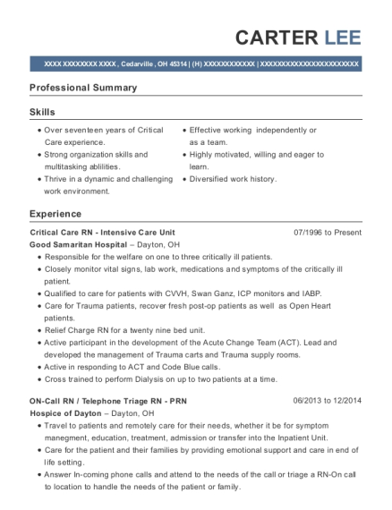 Critical Care RN Intensive Care Unit resume format Ohio