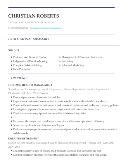 Started out as Housekeeping resume example Ohio