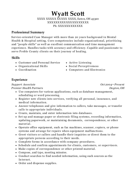 Support Associate resume template Ohio