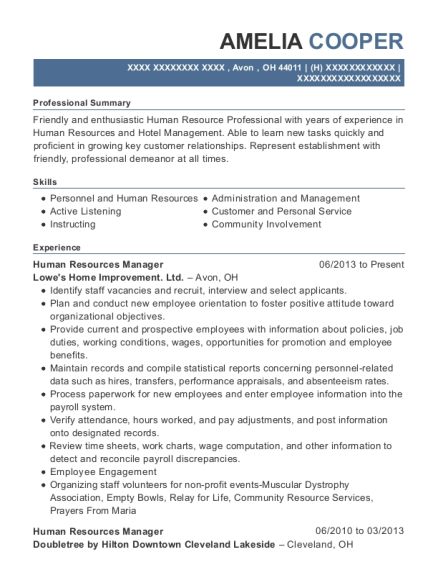 Human Resources Manager resume template Ohio
