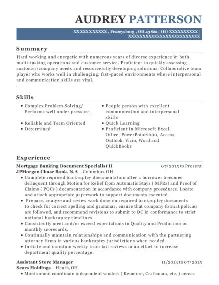 Mortgage Banking Document Specialist II resume example Ohio