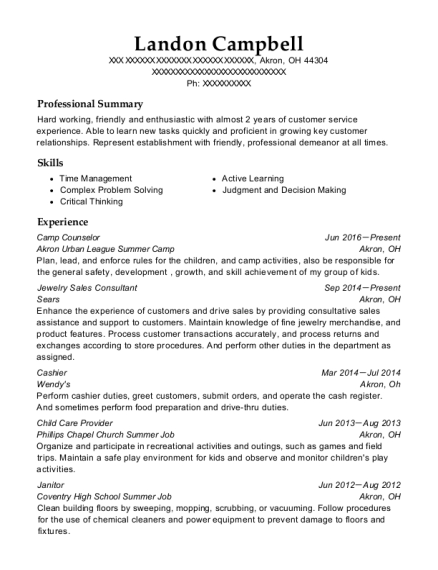 Camp Counselor resume example Ohio