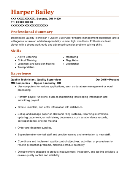 Quality Technician resume example Ohio