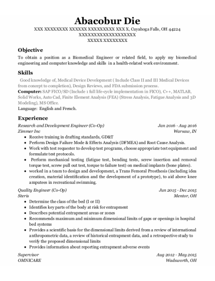 Research and Development Engineer resume example Ohio