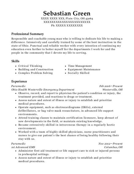 Paramedic resume template Ohio