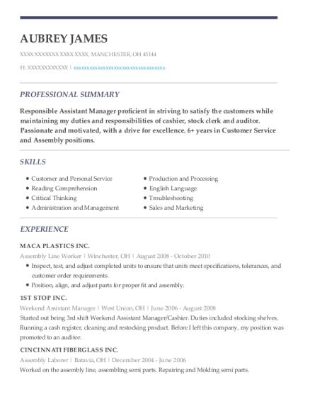 Assembly Line Worker resume example Ohio