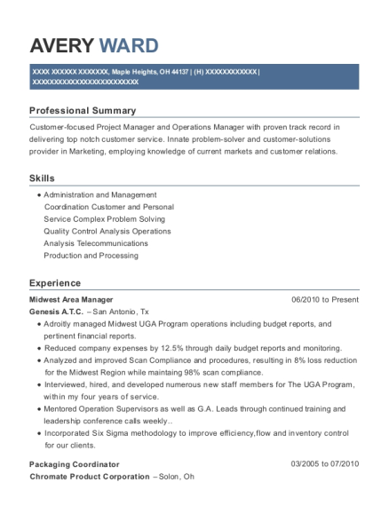 Midwest Area Manager resume format Ohio