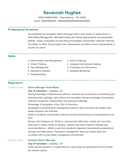 District Manager Solid Waste resume sample Ohio